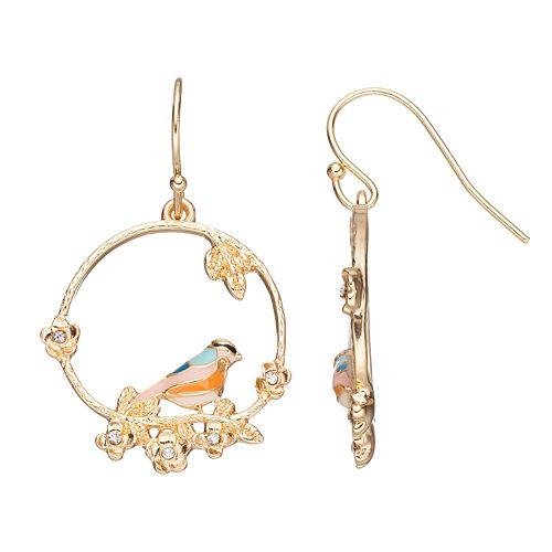 LC Lauren Conrad Bird Drop Hoop Earrings