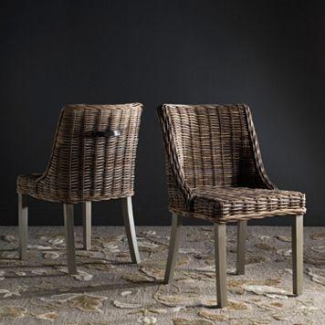 Safavieh Caprice Wicker Dining Chair 2-piece Set