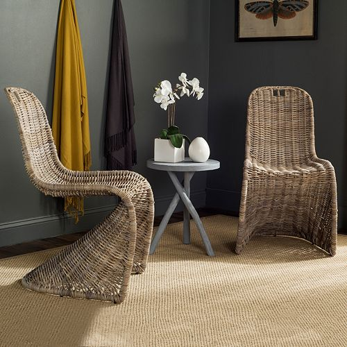 Safavieh Cilombo Wicker Dining Chair 2-piece Set
