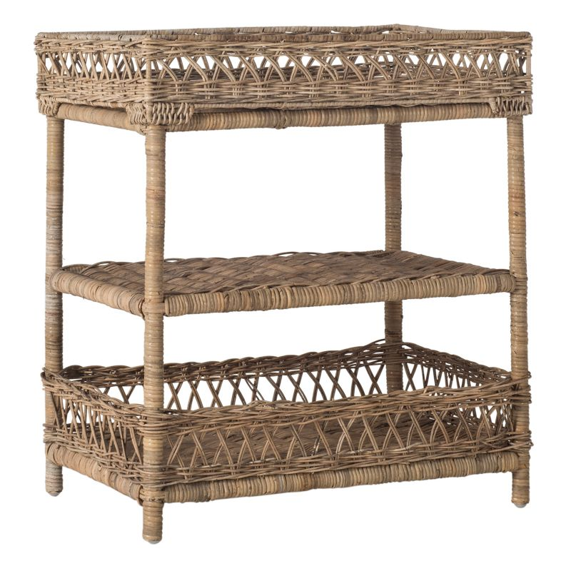 Safavieh Ajani 3-Tier Wicker End Table, Natural