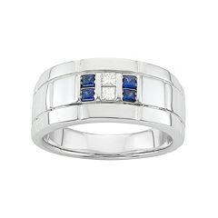 Men's Sterling Silver Lab-Created Sapphire & 1/10 Carat T.W. Diamond Ring
