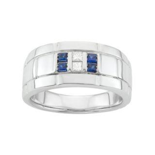 Men's Sterling Silver Lab-Created Sapphire & 1/10 Carat T.W. Diamond Ring