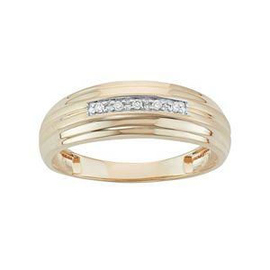Men's 10k Gold Diamond Accent Wedding Band