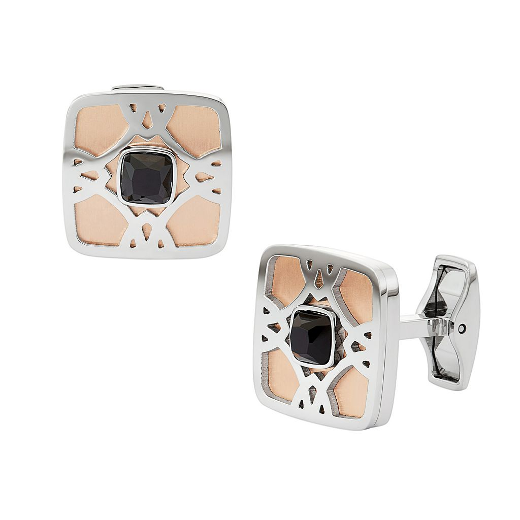 Men's Two Tone Stainless Steel Cuff Links