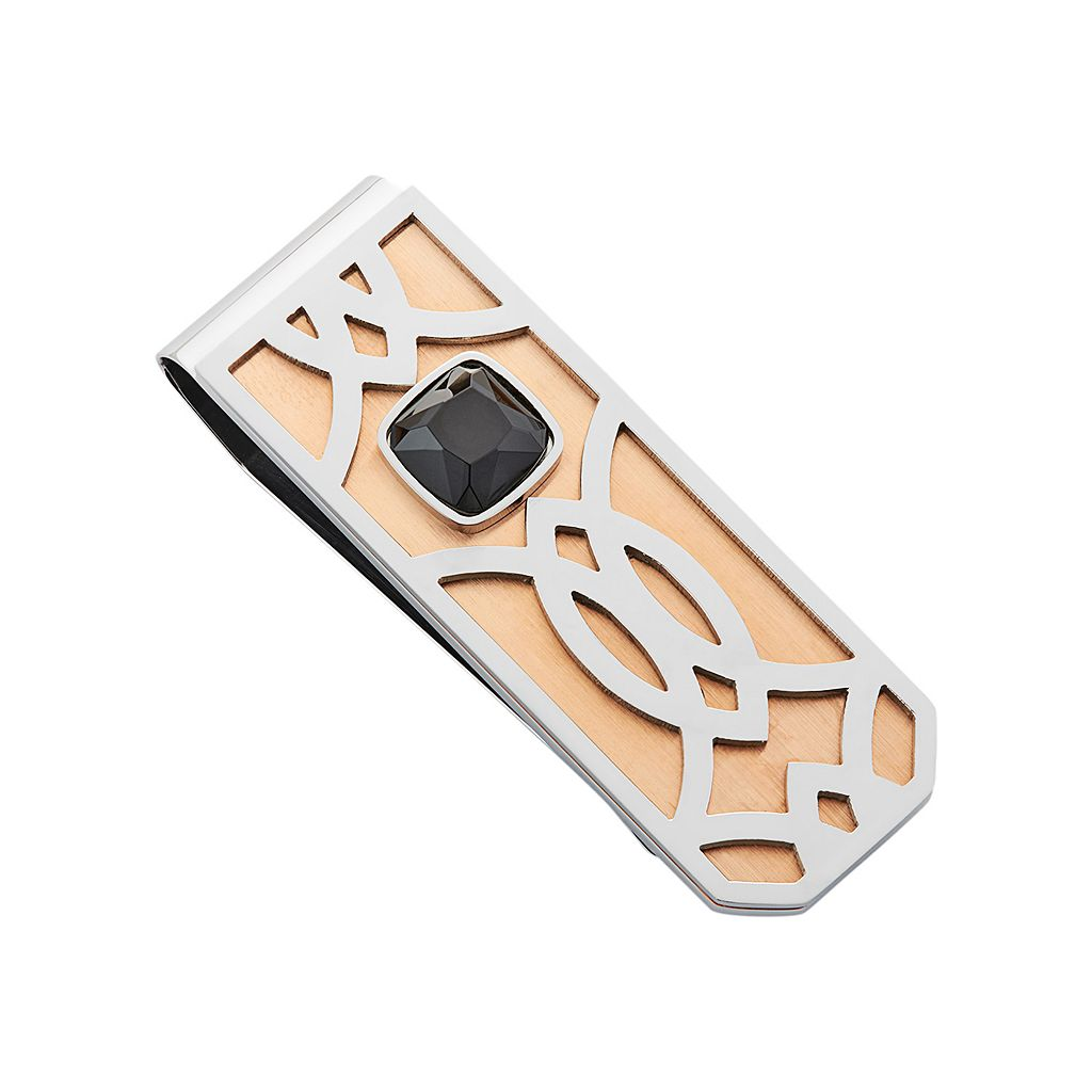 Men's Two Tone Stainless Steel Money Clip