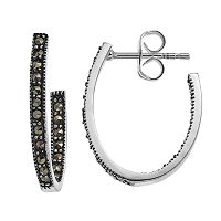 Silver Luxuries Marcasite Inside Out Oval Hoop Earrings