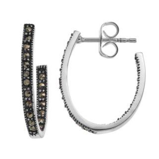 Silver LuxuriesMarcasite Inside Out Oval Hoop Earrings