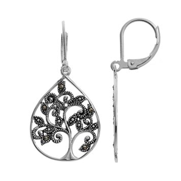 Silver Luxuries Marcasite Tree Teardrop Earrings