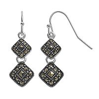 Silver Luxuries Marcasite Double Kite Drop Earrings