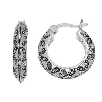 Silver LuxuriesMarcasite Marquise Hoop Earrings