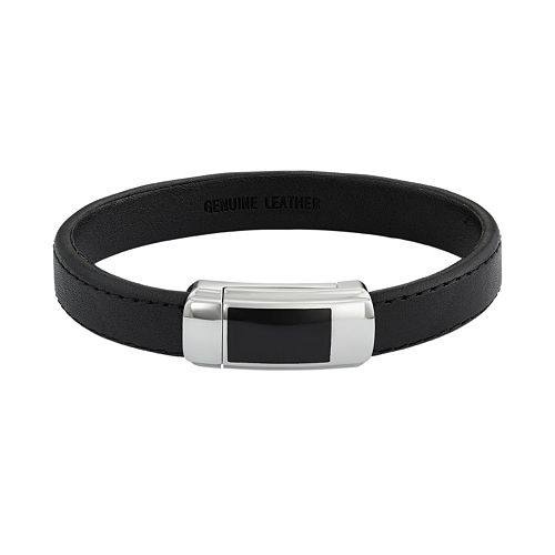 Men's Two Tone Stainless Steel & Black Leather Bracelet