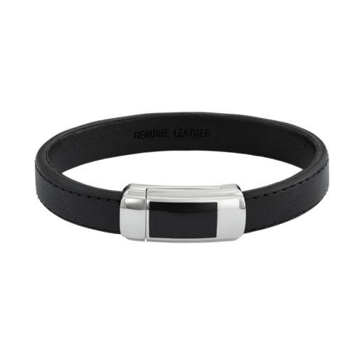 Men's Two Tone Stainless Steel & Black Leather Bracelet