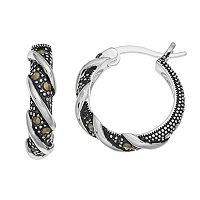 Silver Luxuries Marcasite Twist Hoop Earrings