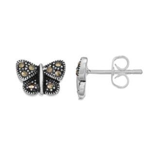 Silver LuxuriesMarcasite Butterfly Stud Earrings
