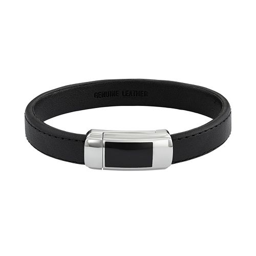 Two Tone Stainless Steel & Black Leather Bracelet