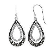 Silver Luxuries Marcasite & Crystal Double Teardrop Earrings