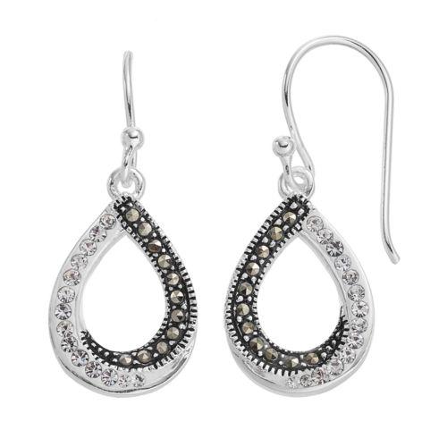Silver LuxuriesMarcasite & Crystal Teardrop Earrings