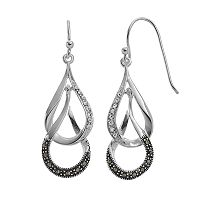 Silver Luxuries Marcasite & Crystal Teardrop Earrings