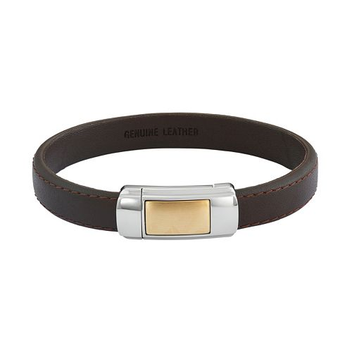 Two Tone Stainless Steel & Brown Leather Bracelet