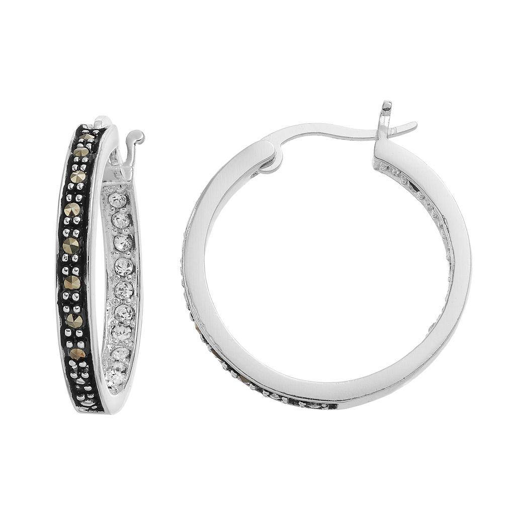 Silver Luxuries Marcasite & Crystal Inside Out Hoop Earrings