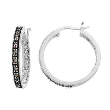 Silver LuxuriesMarcasite & Crystal Inside Out Hoop Earrings