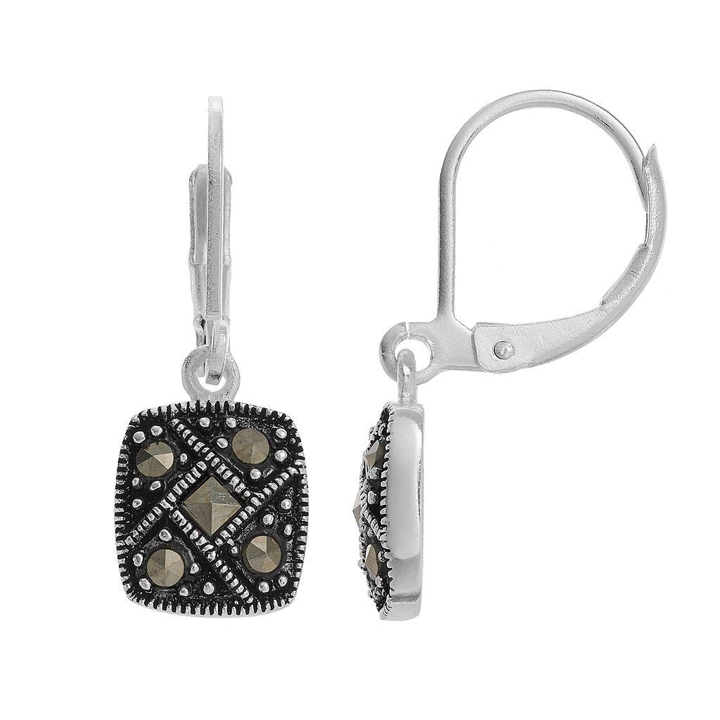 Silver LuxuriesMarcasite Square Drop Earrings