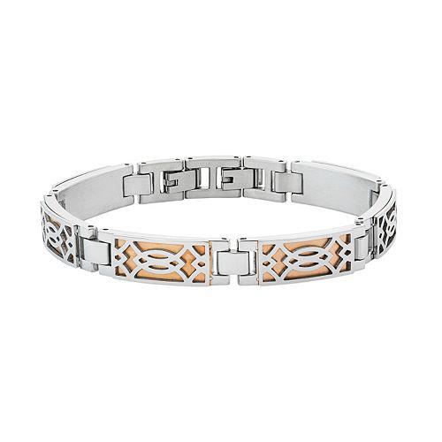 Men's Two Tone Stainless Steel Openwork Bracelet