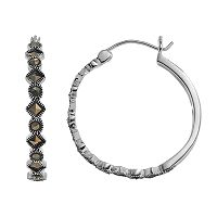Silver Luxuries Marcasite Geometric Hoop Earrings