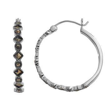 Silver LuxuriesMarcasite Geometric Hoop Earrings
