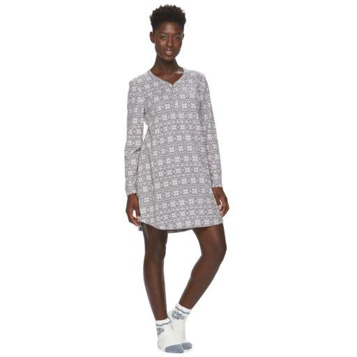 Women's Croft & Barrow® Pajamas: Waffle Fleece Sleep Shirt with Socks