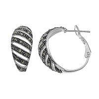 Silver Luxuries Marcasite Striped Hoop Earrings