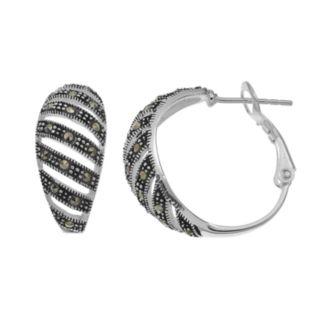 Silver LuxuriesMarcasite Striped Hoop Earrings