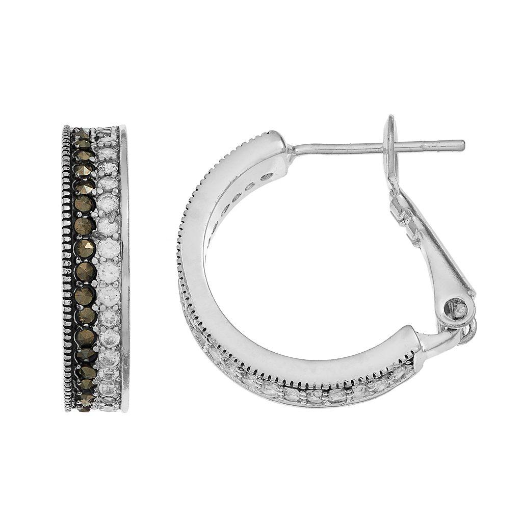 Silver LuxuriesMarcasite & Crystal Striped Hoop Earrings