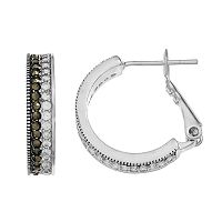 Silver Luxuries Marcasite & Crystal Striped Hoop Earrings