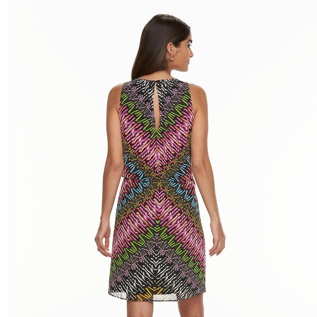 Women's Suite 7 Abstract Chevron Blouson Dress