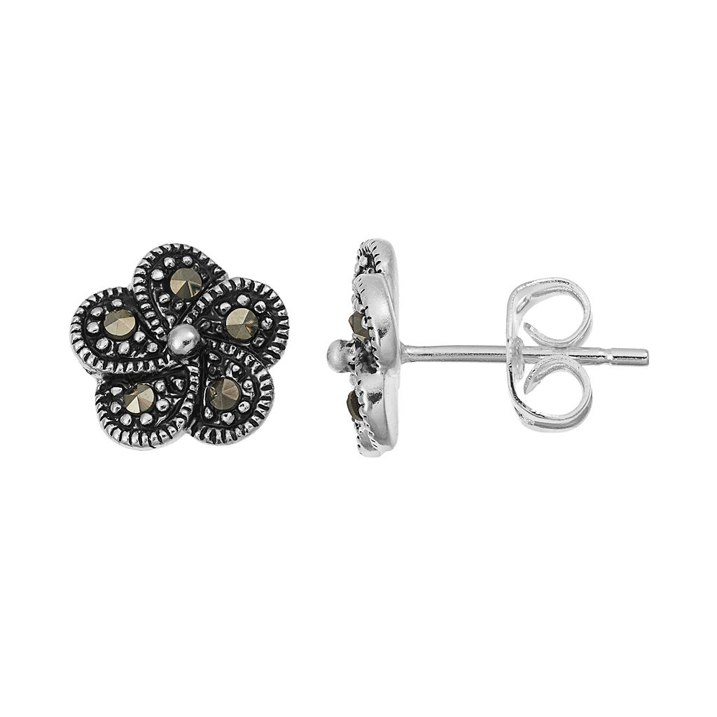 Silver Luxuries Marcasite Flower Stud Earrings