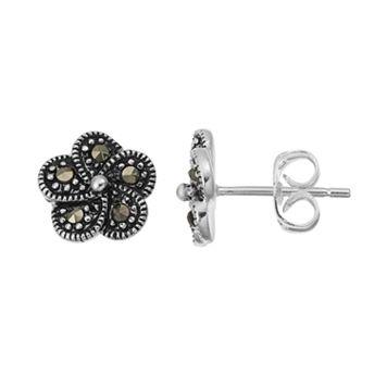 Silver LuxuriesMarcasite Flower Stud Earrings