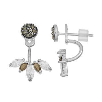 Silver LuxuriesCubic Zirconia & Marcasite Jacket Earrings