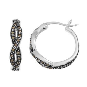Silver LuxuriesMarcasite Twist Hoop Earrings