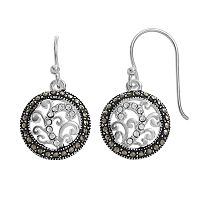 Silver Luxuries Marcasite & Crystal Filigree Circle Drop Earrings