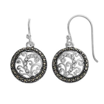 Silver LuxuriesMarcasite & Crystal Filigree Circle Drop Earrings