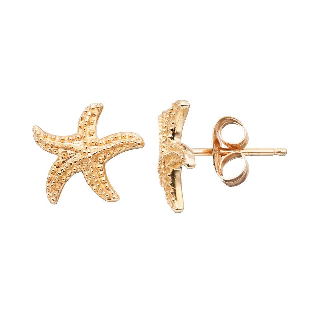 10k Gold Starfish Stud Earrings