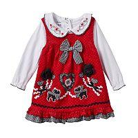 Baby Girl Nannette Embroidered Bodysuit & Corduroy Jumper Dress