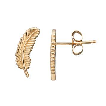 10k Gold Feather Stud Earrings