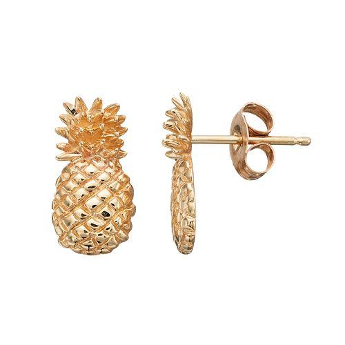 10k Gold Pineapple Stud Earrings