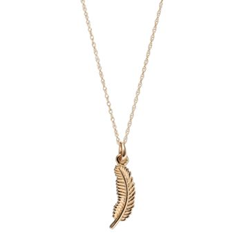 10k Gold Feather Pendant Necklace