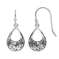 Silver Luxuries Marcasite Filigree Teardrop Earrings