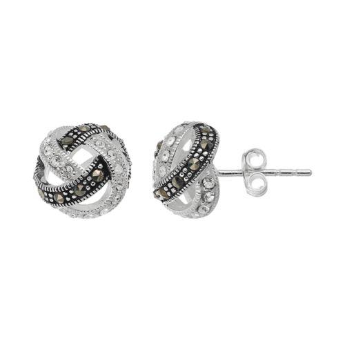 Silver LuxuriesMarcasite & Crystal Knot Stud Earrings