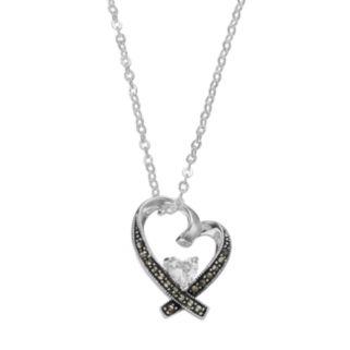 Silver LuxuriesCubic Zirconia & Marcasite Heart Pendant