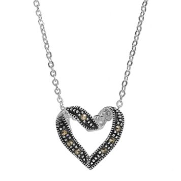 Silver Luxuries Marcasite Heart Pendant Necklace